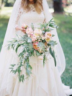 Wedding Gown : Rosa Clará - www.rosaclara.es/es/   Read More on SMP: http://www.stylemepretty.com/2015/04/01/soft-pink-gold-barcelona-wedding/