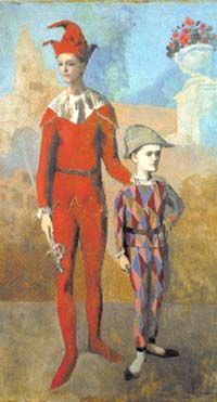 Pablo Picasso - 1905 Acrobate et jeune Arlequin (Acrobat and Young Harlequin), oil on canvas, x cm, The Barnes Foundation, Philadelphia Note: the colors in this image are closer to the Barnes photograph of the work than that of the source. Kunst Picasso, Art Picasso, Picasso Paintings, Picasso Collage, Rose Paintings, Matisse Paintings, Classic Paintings, Indian Paintings, Georges Braque