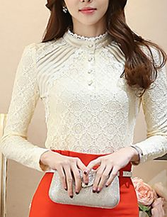 Women's Solid Stand Collar Lace Slim Bottom Blouse Shirt – AUD $ 40.84