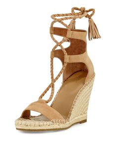 Joie Delilah Braided Wedge Espadrille Sandal, Powder In Blush Lace Up Espadrille Sandals, Lace Up Espadrilles, Platform Wedge Sandals, Open Toe Sandals, Wedge Shoes, Shoes Sandals, Joie Shoes, Platform Shoes, Nude Wedges