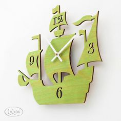 "The ""Dread Pirate Roberts"" in Lime Green, a designer wall mounted clock from LeLuni. $52.00, via Etsy."