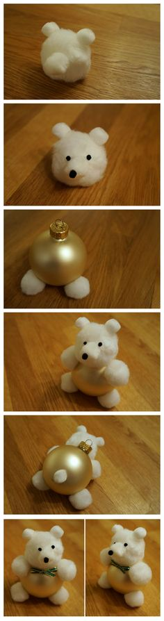 DIY Bear Ornament so cute. Malia will love these.                                                                                                                                                                                 More