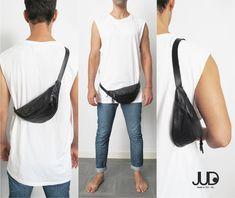 Black leather belt bag crossbody bag waist bag by JUDtlv