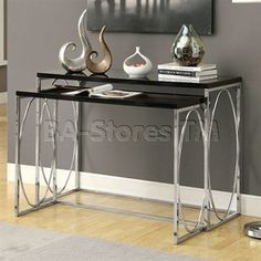 Monarch Specialties Console Table Set, Glossy Black/Chrome Metal, Set Of 2
