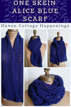 One Skein Alice Blue Scarf Free pattern for the one skein Alice Blue Crochet Scarf from Haven Cottage Happenings Crochet Infinity Scarf Free Pattern, Crochet Lace Scarf, One Skein Crochet, Crochet Beanie Hat, Crochet Motifs, Crochet Scarves, Crochet Patterns, Scarf Patterns, Crochet Cowls