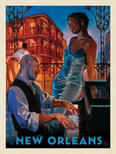 Anderson Design Group American Travel New Orleans Jazz is part of Vintage travel posters -