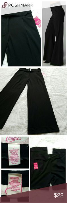 """{Candies} NWT High-Waist Wide-Leg Trousers Adorably fun black trousers. High waisted. Wide bell legs. The high-waist look is slimming, FLATTERING, and comfier than low-cut pants.  Stretchy, soft, jersey feel -- but looks incredibly chic and sleek. Perfect for a sexy night out or the office! Comes w/ belt.  Measurements in the pics: 12"""" rise; 15"""" TRUE waist across laying flat; lengthy 32"""" inseam. NOTE: It's size 7 juniors (runs biggish). Similar to a 6-8 @ Express.   (*Model pic not mine; nor…"""