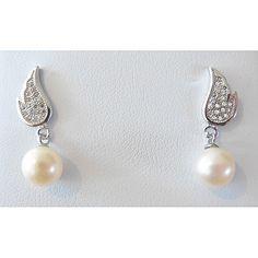 Freshwater Pearl Angel Wing Drop Earrings
