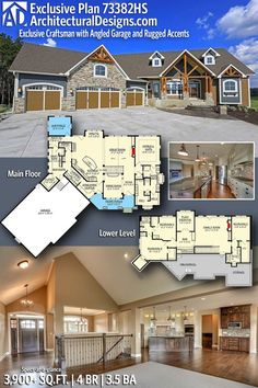 Architectural Designs Exclusive Craftsman House Plan 73382HS 4 BR | 3.5 BA | 3,900+ Sq.Ft. | Ready when you are! Where do YOU want to build? #73382HS #adhouseplans #architecturaldesigns #houseplan #architecture #newhome #newconstruction #newhouse #homedesign #dreamhome #dreamhouse #homeplan #architecture #architect #housegoals #house #home #design #southernliving #southernhome #craftsmanhome #freshhouse #ruggedhome