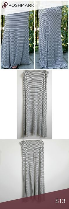"""Toto black and white stripe maxi skirt Toto black and white stripe maxi skirt. Fold-over waist gently hugs your hips, while lightweight fabric boasts a hint of stretch to comfortably move with you. Clean stripe give this maxi effortlessly chic appeal. Size is 2XL, length 40"""", Hips 32"""", Waist 38"""", 95% rayon, 5% spandex. Toto Skirts Maxi"""