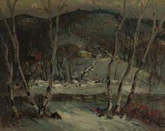 """""""Winter Landscape with Farmhouses and Birches,"""" Arthur Clifton Goodwin, oil on canvas, 40 x 50"""", private collection."""