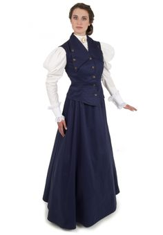 Buy Edwardian Vest and Skirt from Recollections. Our design staff has dedicated over 30 years creating fine ladies garments. Edwardian Fashion, Vintage Fashion, Edwardian Clothing, Edwardian Style, Modern Victorian, Victorian Era, Fashion Pants, Fashion Dresses, V Shape Cut