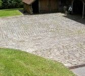Reclaimed cobbles in a patio