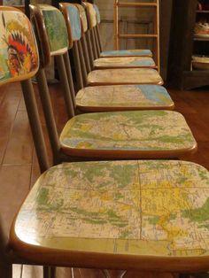 Decoupage Map Chairs
