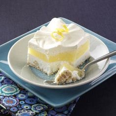 Makeover Frosty Lemon Squares -This dessert has a lemony filling sandwiched between two creamy layers and a crunchy crust. What's not to love? Simple changes in the original recipe subtracted a lot of the calories and saturated fat, but left a ton of great lemon flavor and a rich cream cheese layer. —Taste of Home Test Kitchen