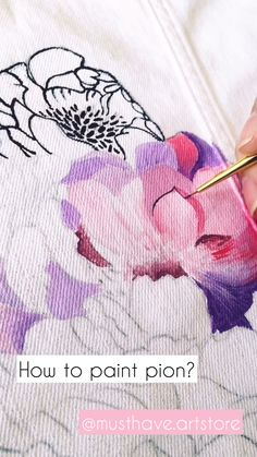 How to paint pion? How to paint pion? Fabric Paint Shirt, Fabric Painting On Clothes, Paint Shirts, Painted Clothes, Silk Painting, Fabric Art, Painting Leather, Denim Kunst, Textiles
