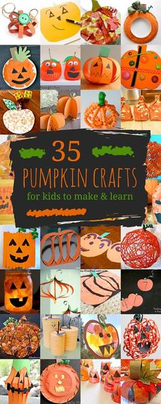 Lots of pumpkin crafts for kids to create, including pumpkins with Jack-O'-Lantern faces! Plus there are crafty ways to get the kids learning with pumpkins!