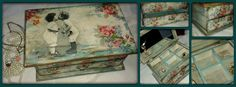 #wooden #jewellery_box #vintage #decoupage #flowers #kiss #love #roses #painting #DIY https://www.facebook.com/pages/Dimitras-Retro-Decoupage/532590893485180
