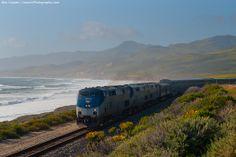 Amtrak's Coast Starlight, traveling along the California coast.