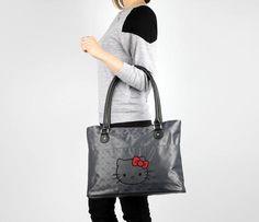 Hello Kitty Shoulder Tote Bag: Graphite Jacquard