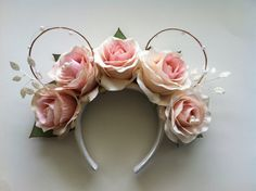 These Blush Rose Mickey ears offer a perfect way to add some clean Disney flair to your wedding or summer festival!  Ears are made of wire!