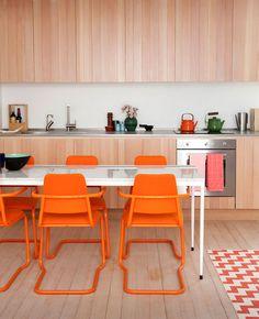 modern orange wood kitchen