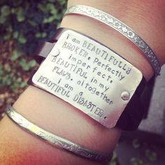 hand stamped beautifully broken bracelet by SoBeautifullyBroken, $37.00
