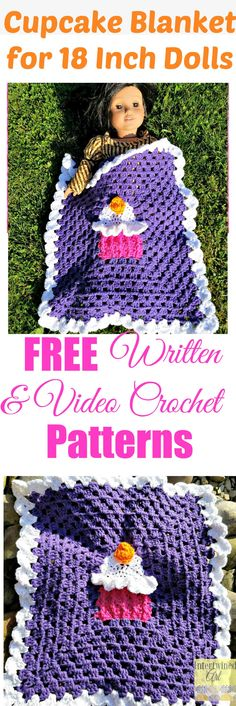 This granny square blanket works up quickly and is perfect for American Girl Dolls or any 18 Inch Doll. Free Crochet Cupcake Blanket Pattern and Video Tutorial