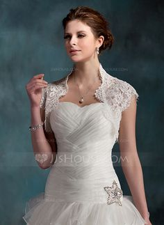 Short Sleeve Lace Wedding Wrap (013022603) - JJsHouse