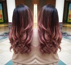 Rose ombre hair color idea with black root, so pretty~