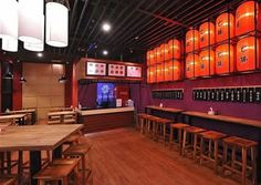Shichidon - Japanese Ramen & Donburi Galaxy Mal - Lenmarc Rustic japanese restaurant design interior Japanese Ramen Restaurant, Japanese Restaurant Design, Restaurant Interior Design, Restaurant Ideas, Traditional Ramen, Japanese Art Modern, Ramen Shop, Store Design, Japan Store