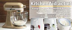 Speciale actie voor Moederdag: bij aankoop van een KitchenAid Artisan standmixer en ontvang een voucher voor een gratis accessoire t.w.v. € 105,00.