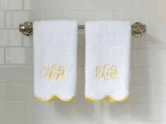 Grace Hayes Linens terry guest towels with cotton tape scallop edges.  So pretty!