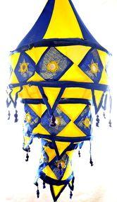 Yapree Handmade Fabric Hanging Lantern 3-Tier  :   Blue and Yellow