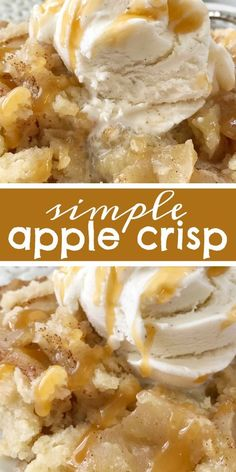 Apple dessert recipes easy - Simple Apple Crisp Recipe Apple Crisp Apple Dessert Simple apple crisp is a quick & easy apple crisp recipe Soft apples with a sugar shortbread topping Simple ingredients and easy enough for a Best Apple Crisp Recipe, Apple Crisp Easy, Apple Crisp Recipes, Apple Cobbler Easy, Apple Crisp Pie, Apple Recipes Without Oats, Bisquick Apple Crisp Recipe, Simple Apple Crumble Recipe, Apple Crunch Recipe