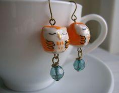 Little ceramic owl earrings.