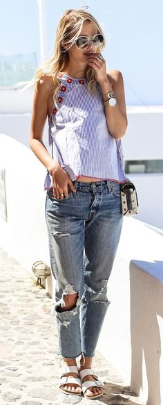 summer trends / striped top + boyfriend jeans + slides + bag