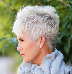 Gray Pixie for Thick Hair