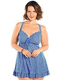 fce272a4ad844 Women's Plus Size Alfresco Gingham Two Piece Swimdress - Ladies' Bathing  Suit & Swimwear