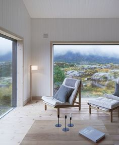 Located not far from the polar circle, this cottage-like dwelling on the island of Vega in Norway takes in its wild surroundings. Envisioned by Kolman Boye Architects, the project opens up towards wid