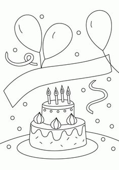 Birthday Cake And Balloons Coloring Pages Birthday Cake And Balloons Coloring Page For Kids Holiday Birthday Cake With Balloon And Candy Cane Birthday Happy Slice The Cake That Will Be Packed Doodle Coloring, Coloring Pages To Print, Coloring For Kids, Coloring Pages For Kids, Coloring Sheets, Coloring Books, Birthday Cake Clip Art, 3d Birthday Card, Birthday Cakes
