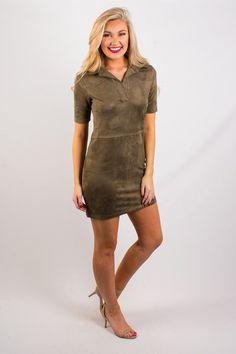 Olive Goddess Suede Dress