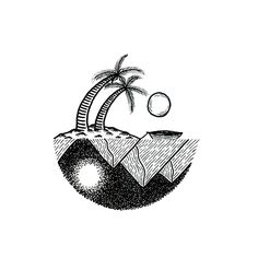Day and night.  .#ink #drawing #draw #art #sketchbook #illustration #ilustração #graphicdesign #handmade #linework #dotwork #dot #trees #palm #wild #island #sun #gooutside #lifeisoutside #outdoors #beach #beachlife #mountains #moon #sun #boat