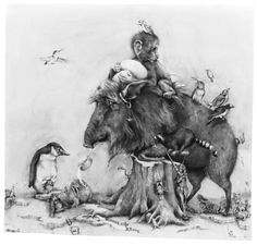 """""""Peccary"""" by Adonna Khare. Adonna will join Beasts of Burden's next exhibit at National Museum of Animals and Society in LA Illustrations, Book Illustration, Animal Drawings, Pencil Drawings, Contemporary Artists, Modern Art, Computer Generated Imagery, Master Of Fine Arts, Pencil Painting"""