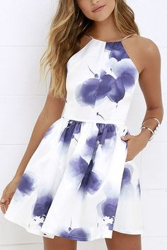 An island beauty deserves an equally stunning wardrobe, which is where the Morning in Mykonos Purple and Ivory Floral Print Dress comes in! Ivory satin fabric, with a whimsical violet floral print, shapes an apron neckline and plunging back, supported by Hoco Dresses, Pretty Dresses, Beautiful Dresses, Dress Outfits, Spring Formal Dresses, Banquet Dresses, Mini Dresses, Backless Dresses, Beautiful Beach