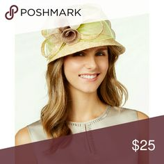 """🎉HP🎉 August Hats Fantasy Garden Dress Cloche Hat August Hats' dressy garden party cloche balances fashion and fantasy with swirling floral accents set atop a feminine, abbreviated brim.   Color: Natural  Floral accents Circumference measures approximately 22-1/2"""" One size fits most Straw Spot clean only Retails for $78 August Hats Accessories Hats"""