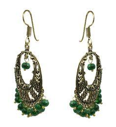 Waama Jewels green golden chand bali Earring for Girl Back  Girlfriend Gift Office Wear Earring - Waama Jewels Earring