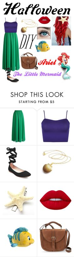 """//Halloween DIY: Ariel~ The Little Mermaid//"" by blissfull-darkness ❤ liked on Polyvore featuring Chicwish, WearAll, Steve Madden, Lime Crime, Disney, IMoshion, halloweencostume and DIYHalloween"