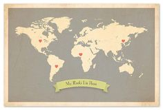 One Kings Lane - Refresh the Family Wall - My Roots World Map, Gray