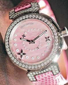 Louis Vuitton Pink Diamond Watch www.nr All kinds of louis vuittons bags here ,nice price for your holiday gifts! Louis Vuitton Watches, Louis Vuitton Handbags, Lv Handbags, Vuitton Bag, Handbags Online, Sac Louis Vuitton Neverfull, Pink Love, Pretty In Pink, Pink Watch